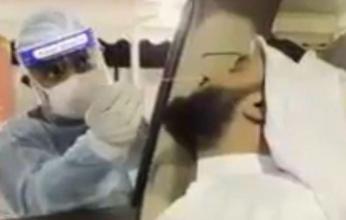 بالفيديو.. رد فعل الشيخ مشاري العفاسي بعد إجراء مسحة الأنف